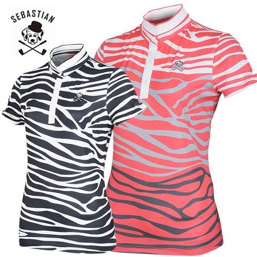 [세바스찬골프] 지브라 패턴 소매주름 여성 변형 이중넥 반팔티셔츠/골프웨어_245177