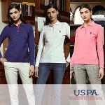 [USPA] 베이직 테잎배색 로고자수 여성 카라넥 긴팔티셔츠 3종 택1/골프웨어_244149