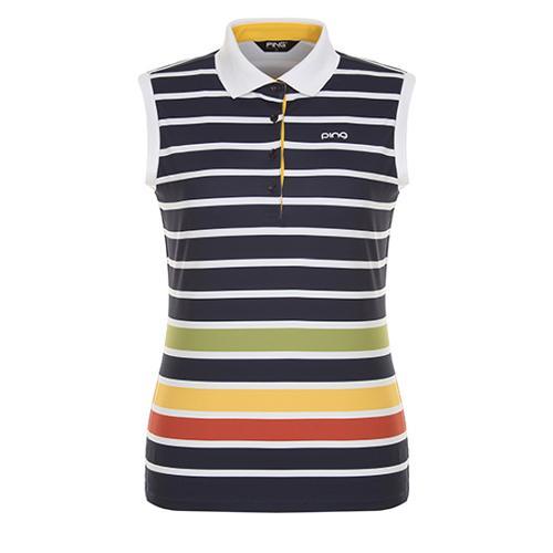 [핑]여성 멀티 스트라이프 슬리브리스 티셔츠 12172TL075_NA