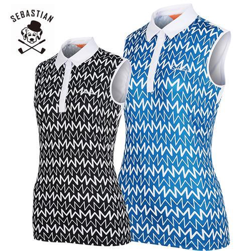 [세바스찬골프] 변형라인 패턴 여성 카라넥 민소매 티셔츠/골프웨어_245303