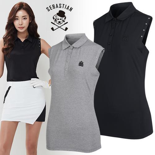[세바스찬골프] 큐빅장식 포인트 여성 카라넥 민소매 티셔츠/골프웨어_245302