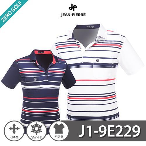 [JEAN PIERRE] 쟌피엘 스트라이프 카라 냉감 반팔티셔츠 Model No_J1-9E229