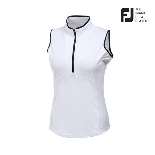[풋조이] 여성 시크 포인트 하프집업 민소매 티셔츠 90245_GA