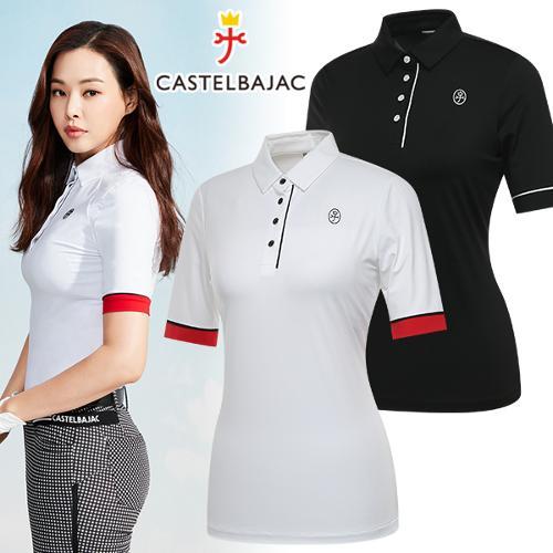 [까스텔바작] 스트레치 소매 끝단 포인트 여성 7부 티셔츠/골프웨어_245898