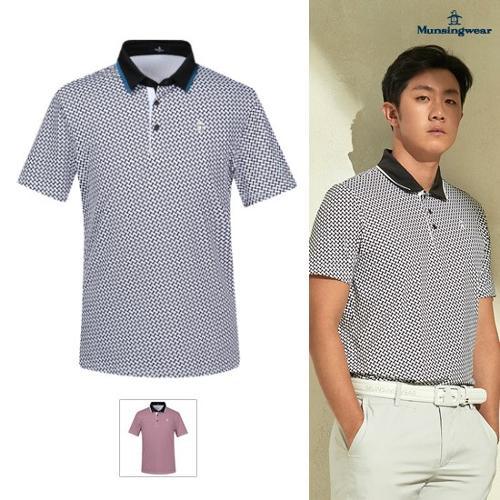 [먼싱웨어] [서요섭 프로 착용]남성 전판 패턴 냉감 반팔 티셔츠 (M9221MTS5E)