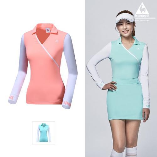 [르꼬끄골프] 여성 변형카라 선가드 냉감 긴팔티셔츠 (G9222LTL61)