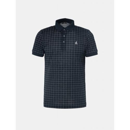 [빈폴골프] 남성 네이비 윈도우 체크 칼라 티셔츠 (BJ9442OB3R)