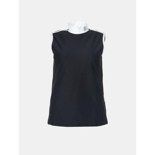 [빈폴골프] [NDL라인] 여성 블랙 하이넥 배색 텍스쳐 저지 민소매 (BJ9342L655)