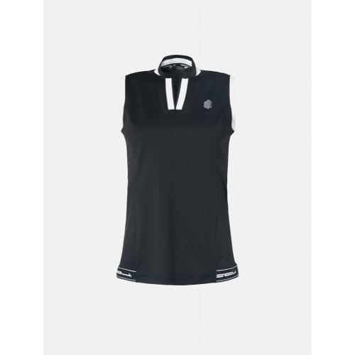 [빈폴골프] [NDL라인] 여성 블랙 Y넥 슬리브리스 티셔츠 (BJ9442L725)