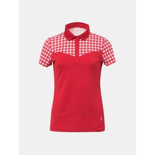 [빈폴골프] 여성 레드 깅엄 체크 패치 칼라 티셔츠 (BJ8442OA26)