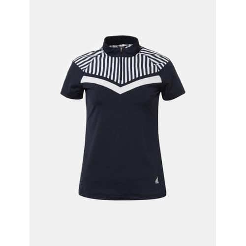 [빈폴골프] 여성 네이비 스트라이프 포인트 반집업 티셔츠 (BJ8342A06R)
