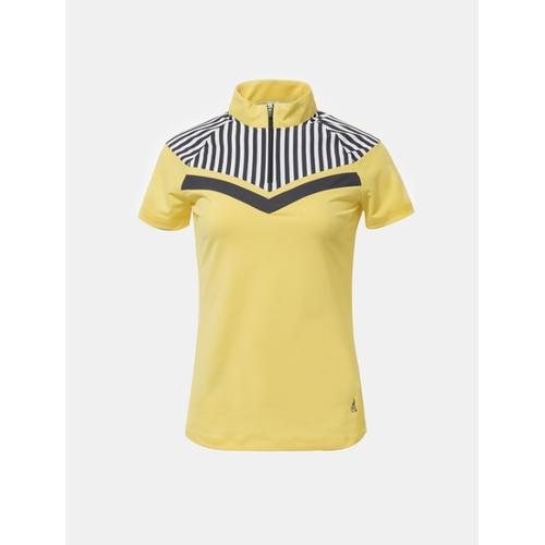 [빈폴골프] 여성 옐로우 스트라이프 포인트 반집업 티셔츠 (BJ8342A06E)