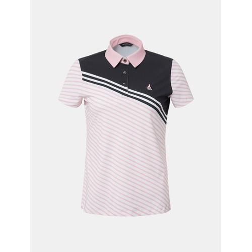 [빈폴골프] 여성 라이트 핑크 볼드 사선 칼라 티셔츠 (BJ8642A03Y)