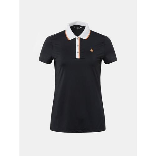 [빈폴골프] 여성 블랙 배색 라인 포인트 칼라 티셔츠 (BJ8642A025)