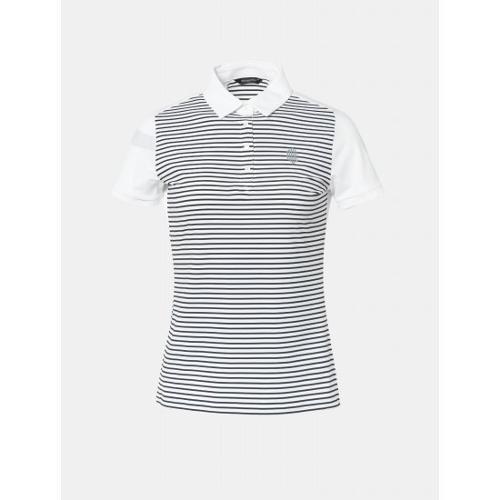 [빈폴골프] [NDL라인] 여성 화이트 기능성 스트라이프 칼라 티셔츠 (BJ9442L711)