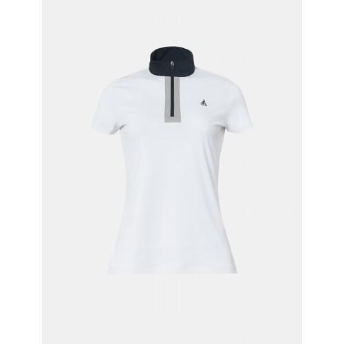 [빈폴골프] 여성 화이트 배색 반집업 티셔츠 (BJ9442OA21)