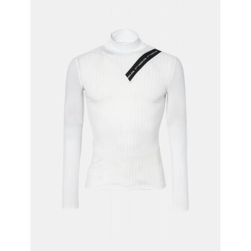 [빈폴골프] [NDL라인] 여성 화이트 핀 스트라이프 하이넥 냉감 티셔츠 (BJ9341L691)