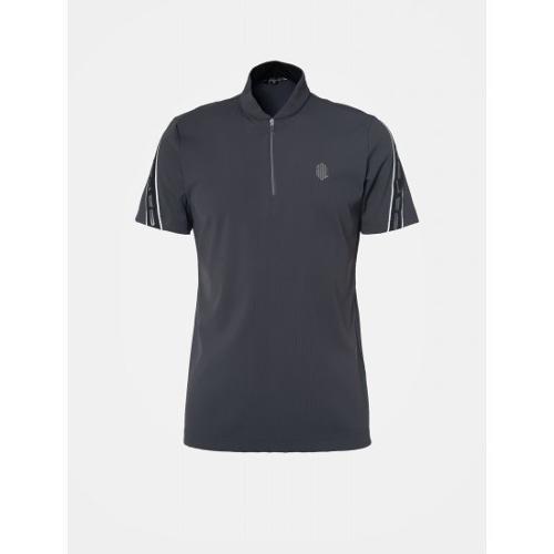 [빈폴골프] [NDL라인] 남성 애쉬 슬리브 로고 테이프 반집업 티셔츠 (BJ9342M464)