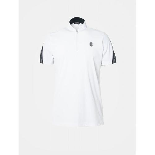 [빈폴골프] [NDL라인] 남성 화이트 슬리브 로고 테이프 반집업 티셔츠 (BJ9342M461)