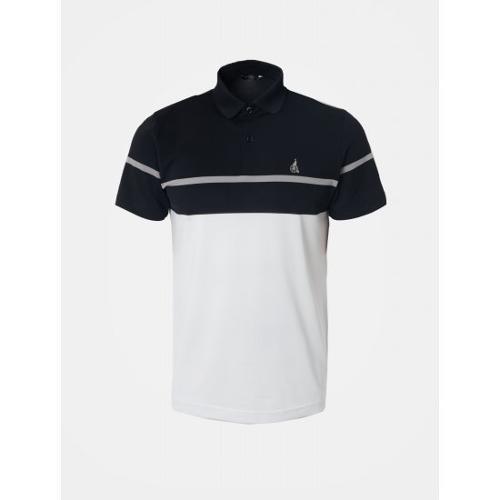 [빈폴골프] 남성 블랙 컬러 블록 보더 칼라 티셔츠 (BJ9442OB25)