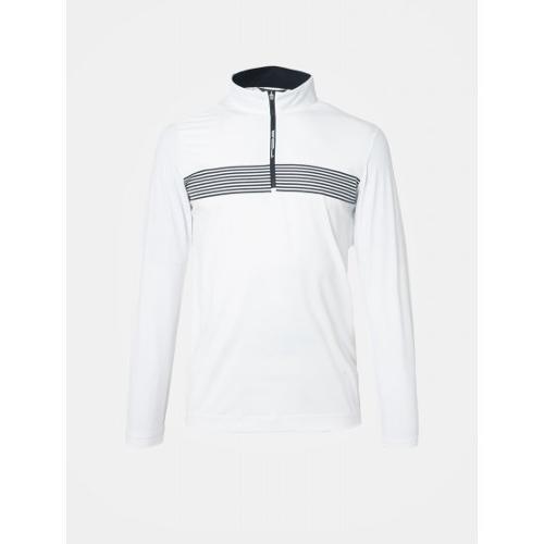 [빈폴골프] [NDL라인] 남성 화이트 스트라이프 포인트 냉감 반집업 티셔츠 (BJ9341M411)