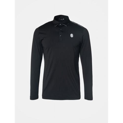 [빈폴골프] [NDL라인] 남성 블랙 솔리드 로고 포인트 냉감 티셔츠 (BJ9341M405)
