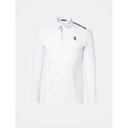[빈폴골프] [NDL라인] 남성 화이트 솔리드 로고 포인트 냉감 티셔츠 (BJ9341M401)