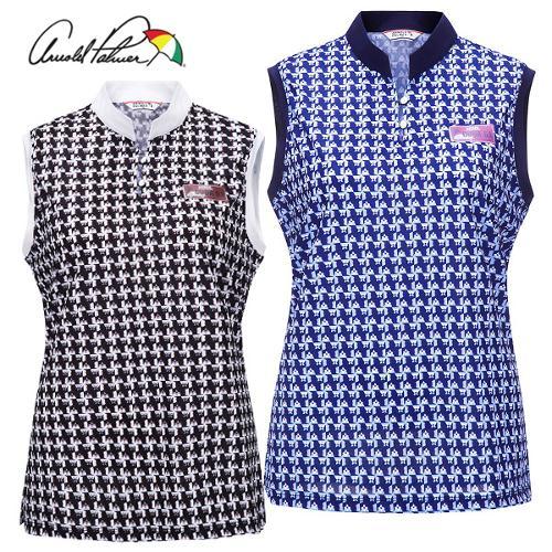 [아놀드파마] 미니 꽃무늬 패턴 여성 오픈카라 민소매 티셔츠/골프웨어_246229