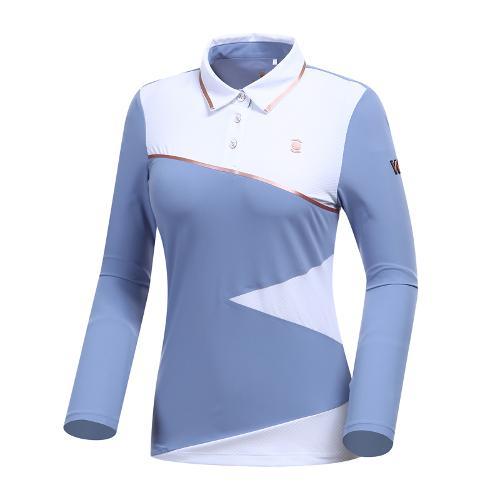 [와이드앵글] 여성 W리미티드 면블럭 카라 티셔츠 WWP19206B1