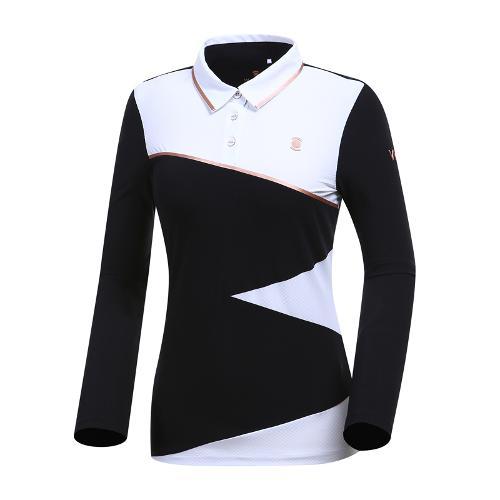 [와이드앵글] 여성 W리미티드 면블럭 카라 티셔츠 WWP19206Z1