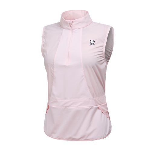 [와이드앵글] 여성 메쉬 소재 믹스 베스트형 티셔츠 WWM19204P1