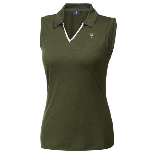 [와이드앵글] 여성 리프패턴 시리즈 슬리브리스 티셔츠 1 WWM19243K7