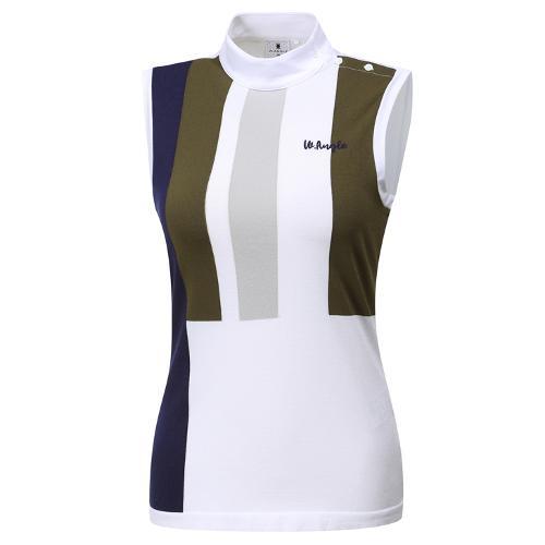 [와이드앵글] 여성 니트 하이브리드 슬리브리스 티셔츠 WWM19245K7