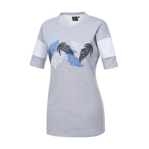 [와이드앵글] 여성 나뭇잎 패턴 포인트 라운드 티셔츠 WWM17272C2