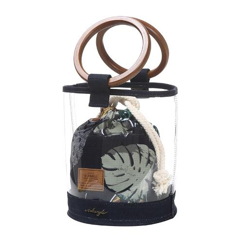 [와이드앵글] 여성 나뭇잎 비닐 원형백 WWP19B10W2