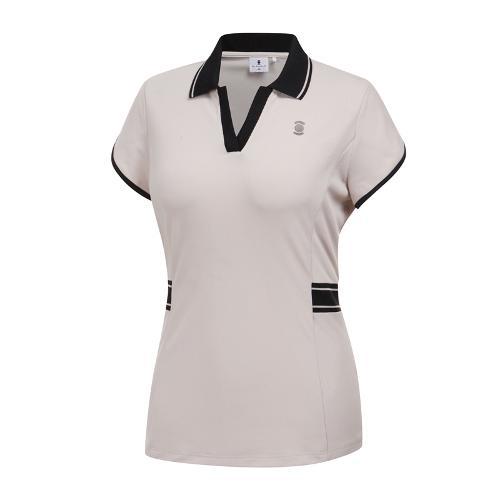[와이드앵글] 여성 변형소매 카라 티셔츠 WWM19233E2