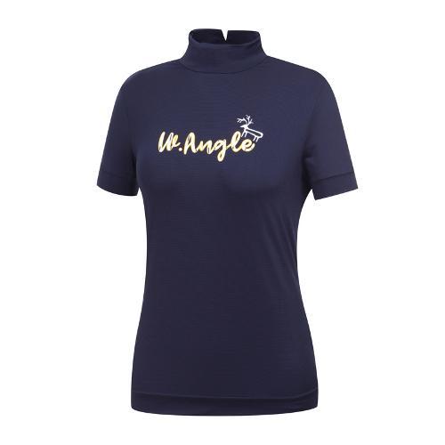 [와이드앵글] 여성 심플 원포인트 하이넥 티셔츠 WWM19237N4