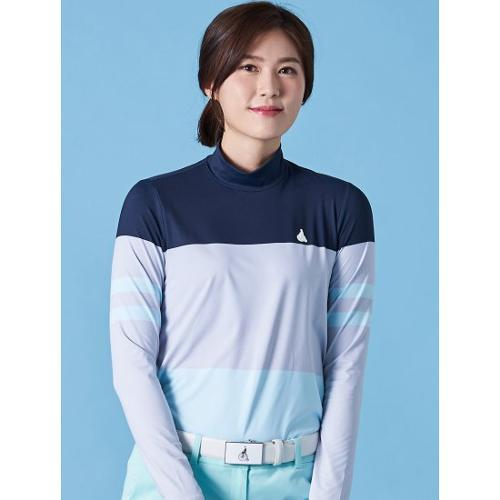 [빈폴골프] 여성 라이트 그레이 컬러블록 스트링 하이넥 티셔츠 (BJ9341A302)