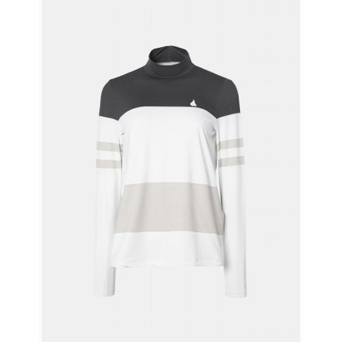 [빈폴골프] 여성 화이트 컬러블록 스트링 하이넥 티셔츠 (BJ9341A301)