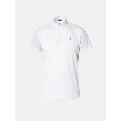 [빈폴골프] 남성 화이트 톤온톤 스트라이프 반집업 티셔츠 (BJ9442B281)