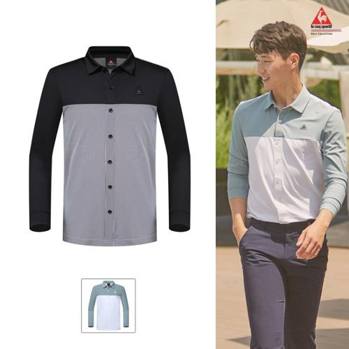 [19FW 신상]남성 스트라이프 배색 셔츠형 냉감 긴팔 티셔츠 (G9321MTL81)
