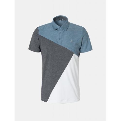 [빈폴골프] 남성 블루 배색 블록 칼라 티셔츠 (BJ9542B61P)