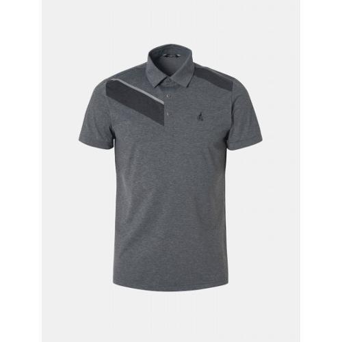 [빈폴골프] 남성 그레이 멜란지 라인 패턴 칼라 티셔츠 (BJ9542B633)