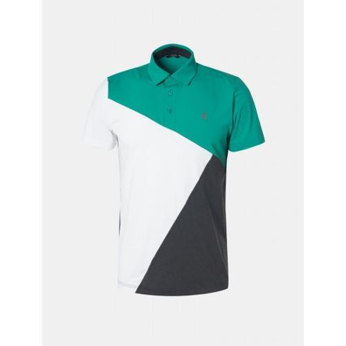 [빈폴골프] 남성 그린 배색 블록 칼라 티셔츠 (BJ9542B61M)