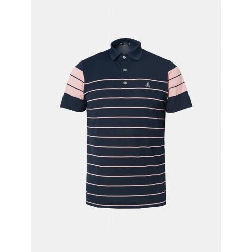 [빈폴골프] 남성 네이비 배색 핀 스트라이프 칼라 티셔츠 (BJ9542B60R)
