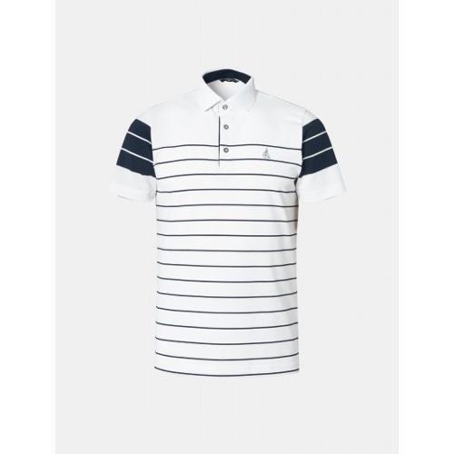[빈폴골프] 남성 화이트 배색 핀 스트라이프 칼라 티셔츠 (BJ9542B601)