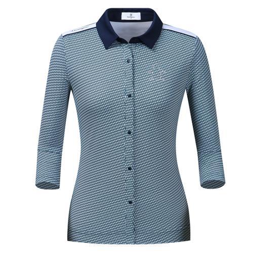 [먼싱웨어] 여성 전판패턴 버튼다운 7부 티셔츠 (M9322LTL82)