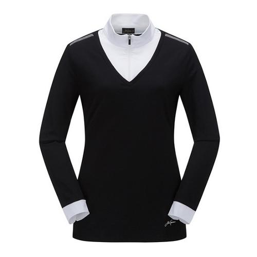 [JACKNICKLAUS] 여성 배색 레이어드 티셔츠_LWTAA18821BKX