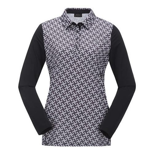 [JACKNICKLAUS] 여성 패턴 배색 긴팔티셔츠_LWTAM19811BKX