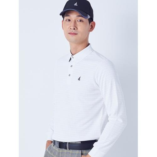 [빈폴골프] 남성 화이트 하운드 투스 텍스처 티셔츠 (BJ8841B031)